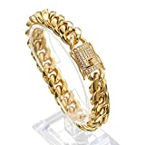 Jxlepe Mens Miami Cuban Link Chain Bracelet 18K Gold 15mm Stainless Steel Curb Necklace Bangle with cz Diamond Chain Choker (9)