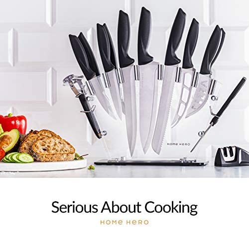 Home Hero 17 Pieces Kitchen Knives Set, 13 Stainless Steel Knives + Acrylic Stand, Scissors, Peeler and Knife Sharpener ( Stainless Steel Blades ) 18