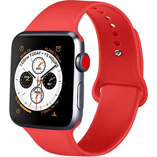 ATUP Compatible with for Apple Watch Replacement Band 38mm 40mm 42mm 44mm Women Men, Soft Silicone Band Compatible with for iWatch Series 4, 3, 2, 1 (Orange Red, 42mm/44mm-S/M)