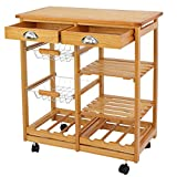 ZENY 4-Shelf Kitchen Storage Island Cart Rack Wood Dining Trolley w/Drawers Basket Stand Home Kitchen Shelves and Organizer w/Wheels