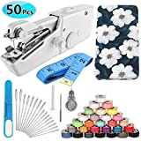 Handheld Sewing Machine and Sewing Thread Kit, Mini Cordless Portable Electric Sewing Machine, 27 Pcs Sewing Threads, 16 Pcs Sewing Needles,Scissors and Measuring Tape