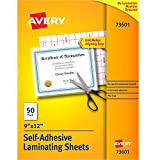 Avery Self-Adhesive Laminating Sheets, 9' x 12', Permanent Adhesive, 50 Clear Laminating Sheets (73601)
