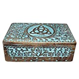Vrinda Wooden Hand carved Triquetra Box 8 inch x 5 inch.