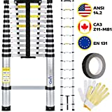 Multipurpose Telescoping Ladder - 12.5 ft. Extension Ladder Holds 330 lb. - Compact, Rust Resistant, Indoor & Outdoor Aluminum Retractable Ladder Collapses to 40x17' for Easy Storage by GAD's Quality
