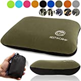 Inflatable Compact Camping Backpacking Pillow - Ultralight Portable Outdoor Blow Up Air Pillow - Best Lightweight Neck Support Pillow for Camp Travel Hiking (Black, Blue, Gray, Dark Green)