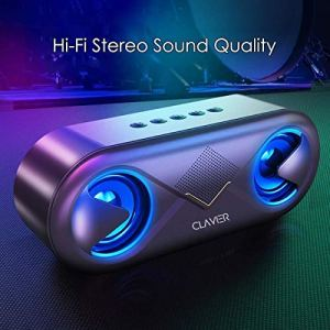 Clavier Supersonic Portable Bluetooth Speaker, Bluetooth 5.0 Wireless Speakers with 10W HD Sound and Rich Bass, 12H Playtime, Built-in Mic for iPhone & Android – Black