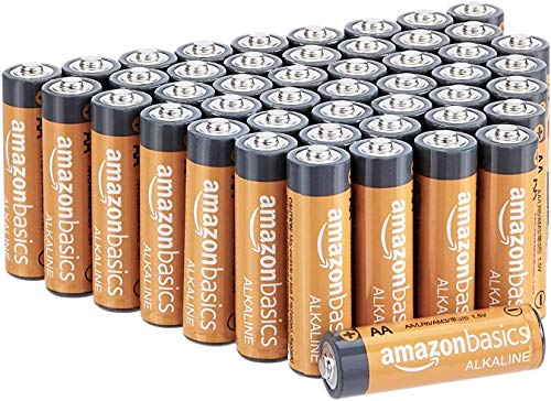 AmazonBasics 48 Pack AA High-Performance Alkaline Batteries, 10-Year Shelf Life, Easy to Open Value Pack 51Rz8hdMXEL