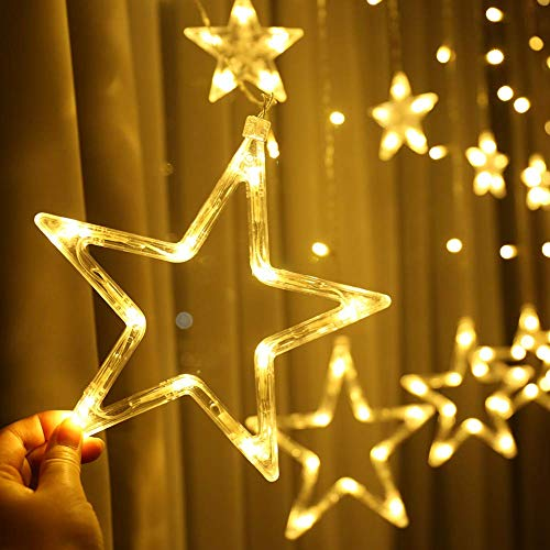 51S%2Bi6dLuRL - Home Solution's -Star Light Curtain Decorations (12 Star,138 LED,8 Flashing Modes in Warm White Color)