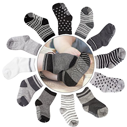 Cubaco Baby Socks, 12 Pairs Non Skid Anti Slip Cotton Grip Socks for Toddler Baby