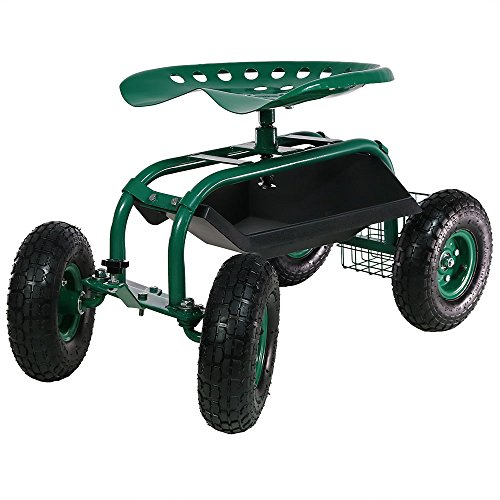 Sunnydaze Rolling Garden Cart Scooter with Wheels, 360 Swivel Seat, and Utility Tool Storage Basket, Green