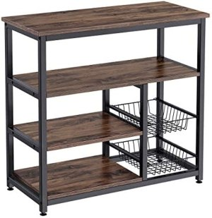 Homemaxs Kitchen Baker's Rack, 4 Tier+ 4 Tier Microwave Storage Stand with 2 Slide-Out Mesh Baskets, Vintage Utility Shelf for Spices, Pots, and Pans Organizer Workstation – Rustic Brown