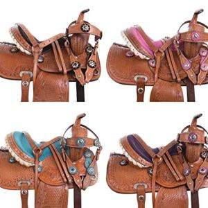 Acerugs Western Children Pleasure Trail Barrel Racing Leather Tooled Crystal Show Youth Kids Horse Pony Saddle TACK Set…