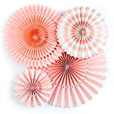 My Mind\s Eye Basics Party Fans, Coral Color, Set of 4