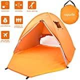 ROPODA Beach Tent, Portable Pop up Sun Shelter-Automatic Instant Family UV 2-3 Person Canopy Tent for Camping,Fishing,Hiking,Picnicing-Outdoor Ultralight Canopy Cabana Tents with Carry Bag(Orange)