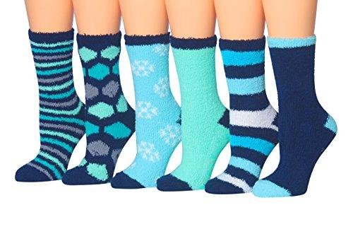 Tipi Toe Women's 6-Pairs Soft Fuzzy Cozy Anti-Skid Crew Socks, (sock size 9-11) Fits shoe size 6-9, FZ08
