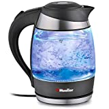 Mueller Austria Electric Kettle Water Heater with SpeedBoil Tech, Glass Tea, Coffee Pot 1.8 Liter Cordless with LED Light, Borosilicate BPA-Free with Auto Shut-Off and Boil-Dry Protection, 1.8L, Black