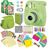 Fujifilm Instax Mini 9 Lime Green Instant Camera Kit - 40 Film Sheets, Carrying Case, Photo Album, Assorted Frames, Stickers and Accessories - Built-in Flash and Batteries Included