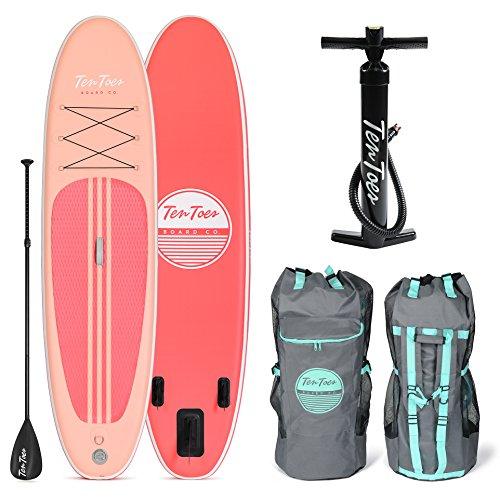 Ten Toes SUP Emporium Ten Toes Weekender Inflatable Stand Up Paddle Board Bundle, Medium/10', Coral