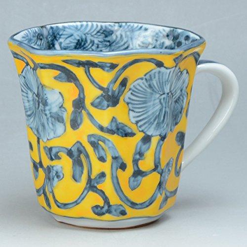Kiyomizu-kyo yaki ware. Japanese mug cup kidamihanakarakusa with paper box. Porcelain. kymz-CRK683