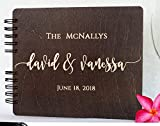 Wood Wedding Guest Book 8.5'x 7' - Personalized Wooden Rustic Charm Custom Engraved Bride and Groom Names Date Vintage Monogrammed Unique Bridal Gift Idea Guest Registry Guestbook Made in USA