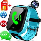 SIM Card Included Kids Smart Watch with GPS Tracker- 1.44' Smart Watch Phone for Boys Girls with SOS Camera Pedometer Kids Wearable Digital Watch Bracelet Wristband Birthday Gifts (Blue)