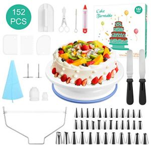 152 pcs Cake Decorating Supplies, Cupcake Decorating Kit Baking Supplies Equipment with Nonslip Turntable Stand, Coupler, Frosting, Piping Bags, Icing Spatula, Pastry Tool, Cake Scrapers 51SC2xC7shL