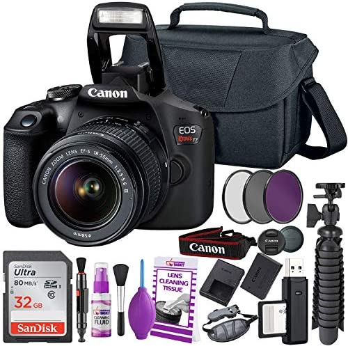 Canon Rebel T7 DSLR Camera (2000D) with EF-S 18-55 mm f/3.5-5.6 Lens + 32GB Memory Card + Camera Bag + Cleaning Kit + Table Tripod + Filters