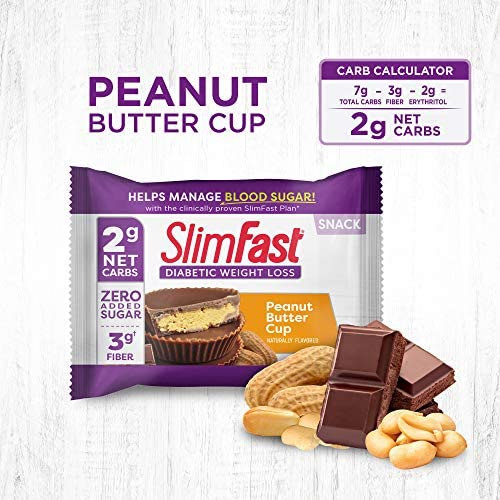 SlimFast Diabetic Weight Loss Snack, Peanut Butter Cup (14 Count of 0.6 Oz Cups Each), 8.4 Oz 3
