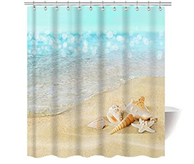 Gwein Beautiful Beach Pearl Seasshower Curtain Polyester Fabric Mildew Proof Waterproof Cloth Shower Room Decor