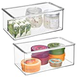 mDesign Long Plastic Stackable Storage Container Bin Box, Hinged Lid - Bathroom Cabinet Organizer for Toiletries, Makeup, First Aid, Hair Accessories, Bar Soap, Loofahs, Bath Salts - 2 Pack - Clear