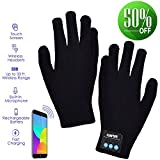 Bluetooth Gloves, Wireless Gloves Winter, Touch Screen Gloves Men Women for Outdoor Sports,Calling,Listening, Christmas Gifts Women Men (black)