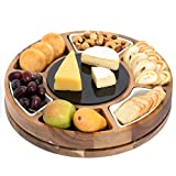 Shanik Round Shaped Cheese Board, Charcuterie Board Set Made from Acacia Wood, Rotating Cheese Serving Platter, Double Sided Marble Plate Black/White, 3 Ceramic Bowls, Unique Gift