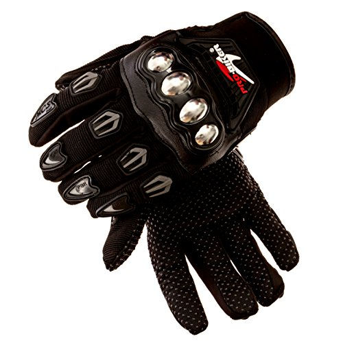 Steel Knuckle Motorcycle Gloves (Pair) Motorbike Protective Riding Accessories, Tactical Racing Gear - Large, Black