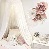 Dix-Rainbow Princess Girls Bed Canopy, Lace Crib Canopy Round Dome, Fairy Net for Kids Bed, Kids Play Tent Castle, Reading Nook Canopy for Girls, Babies & Toddlers Height 270cm/107in White