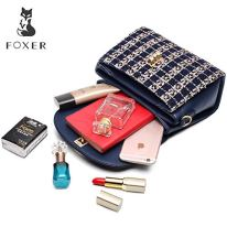 Leather-Crossbody-Bag-for-Women-Genuine-Leather-Tweed-Fabric-Ladies-Messenger-Bags-with-Adjustable-Shoulder-Strap-Womens-Designer-Handbags-Womens-Top-handle-Bags-Leather-Purses-and-Handbags-Blue