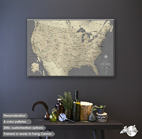 Contemporary Attractive And Charming Map Wall Art Home Wall Art Decor - Large framed us map