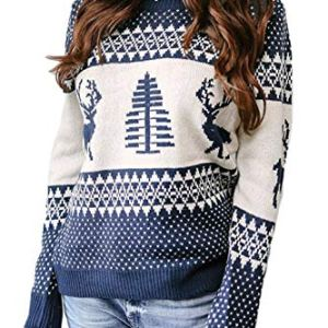 Women Ugly Sweater Vintage Christmas Knit Reindeer Pullover Tops