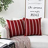 Home Brilliant Modern Farmhouse Cushion Covers Rustic Decor Striped Decorative Throw Pillow Covers for Couch Bench Sofa, Set of 2, 18 x 18 inches(45x45cm), Red Burgundy