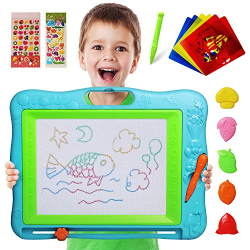 Gamenote Extra Large Magnetic Drawing Board 18×13 with Stamps & Stencils & Replacement Pen - Education Doodle Toys for Kids, Colorful Erasable Magnet Writing Sketching Pad for Toddlers Learning