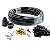 theBlueStone 40FT Mist Cooling System - 20 Brass Nozzles with in-Line Filter - Misters for Outside Patio Garden Greenhouse Trampoline for Waterpark Pet Deck Cooling