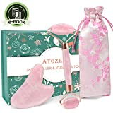 Rose Quartz Jade Roller for Face 2 in 1 Gua Sha Set, 100% Real Quartz Anti Aging Face Eye Neck Stone Massage Roller For Slimming & Firming, Rejuvenate Skin & Remove Wrinkles