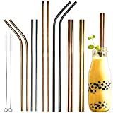 Youngever Reusable Stainless Steel Straws, Metal Straws, with 2 Extra Wide Straws for Smoothie and Bubble Tea, to Go Bag, 20 Ounce and 30 Ounce Tumblers Straws