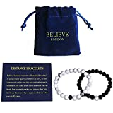 Believe London Distance Bracelets with Jewelry Bag & Meaning Card | Strong Elastic | Friendship Relationship Couples His Hers | Black Agate Onyx White Howlite Bracelet (8 inch Black & 7 inch White)
