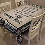 RubyShopUU European Cotton Thick Soft Rectangular lace Tablecloth Writing Bless Word Sofa Blanket Picnic Rug Embroidery Design