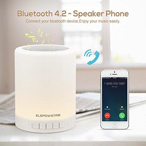 Bluetooth musica altoparlante, portatile dimmerabile Smart touch LED notte luce muisc giocatore/hands-free con TF card e USB di ricarica, 3 leva di luminosità, 7 cambio colore