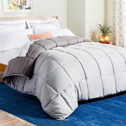 Linenspa All-Season Reversible Down Alternative Quilted Comforter - Hypoallergenic - Plush Microfiber Fill - Machine Washable - Duvet Insert or Stand-Alone Comforter - Stone/Charcoal - King