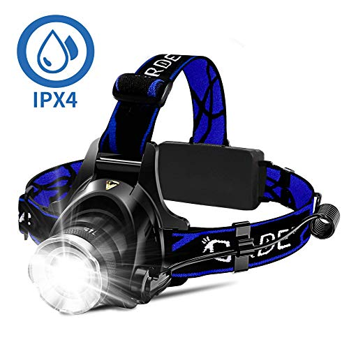 Headlamp, Super Bright LED Headlamps 18650 USB Rechargeable IPX4 Waterproof...