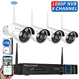 Wireless Security Camera System, NexTrend 8CH 1080P Outdoor Security Camera System, 4PCS 960P(1.3 MP) Wireless Security Camera, 1TB Hard Drive Pre-Installed, Plug-Play 24/7 Security Camera System