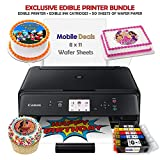 Mobile Deals Edible Birthday Cake Topper and Tasty Treats Image Printer Bundle - Includes Canon Wireless Printer, Edible Ink Cartridges and Wafer Paper Kit