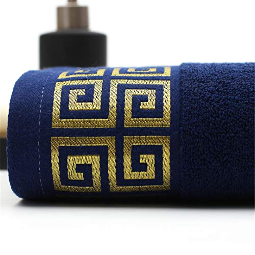 Alexlove 100% Cotton Embroidered Towel Sets Bamboo Beach Bath Towels for Adults Luxury Soft Face Towels 3575Cm Blue L
